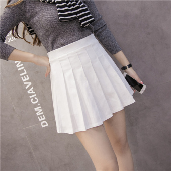 Qiudong Korean-style female New style plaid a word skirt pleated skirt (Elastic models white)