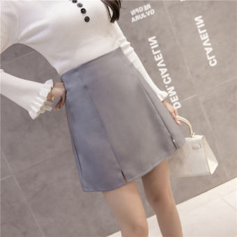 Qiudong Korean-style female New style plaid a word skirt pleated skirt (Slit models gray)