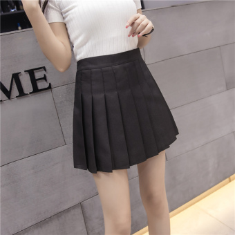Qiudong Korean-style female New style plaid a word skirt pleated skirt (Zip black)