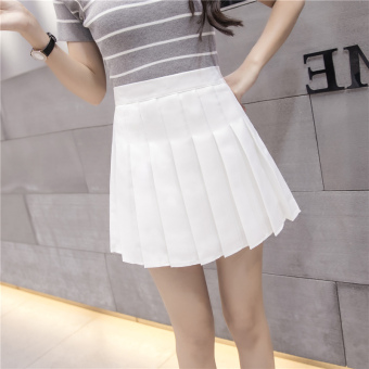Qiudong Korean-style female New style plaid a word skirt pleated skirt (Zip white)