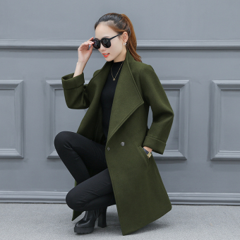 Qiudong Korean-style female winter Slim fit woolen coat (Army Green)