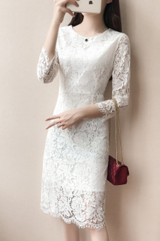 Qiudong Korean-style New style Slim fit slimming dress (White)