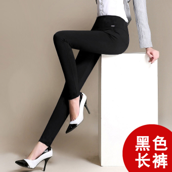 Qiudong Plus velvet black female thick Plus-sized pants leggings (Black-autumn pants)