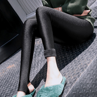 Qiudong versatile black female outerwear pencil pants leggings (Thick stepping Black Velvet)