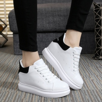 Qiudong versatile Plus velvet female two cotton-padded shoes elevator women's shoes (Female Models + White and black)