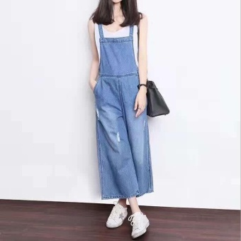 Qizhef Ladies Fashion Strap Worn Loose Jeans Casual Loose All-matchWide Leg Pants Nine Blue - intl