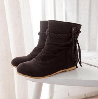 Qizhef ladies fashion tassels comfort boots(Dark Brown) - intl - 3