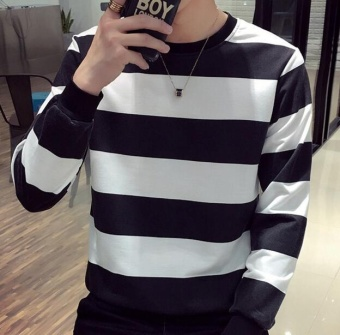 Qizhef Men thin small shirt T-shirt bottoming hoodies striped long sleeved T-shirt black - intl