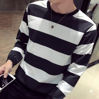 Qizhef Men thin small shirt T-shirt bottoming hoodies striped long sleeved T-shirt black - intl - 2