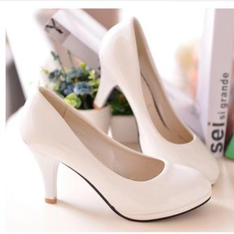 Qizhef Ms comfortable with round head thin high heels White - intl