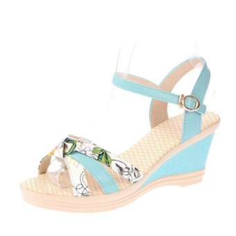 Qizhef Ms. Fashion Color Matching High Heels Wedge Sandals (Blue) -intl - 2