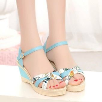 Qizhef Ms. Fashion Color Matching High Heels Wedge Sandals (Blue) -intl