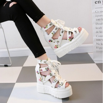 Qizhef Ms. Fashion Color Matching High Heels Wedge Sandals (White)- intl