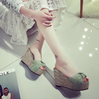 Qizhef Ms. Fashion Comfortable Wedge Sandals (Light green) - intl