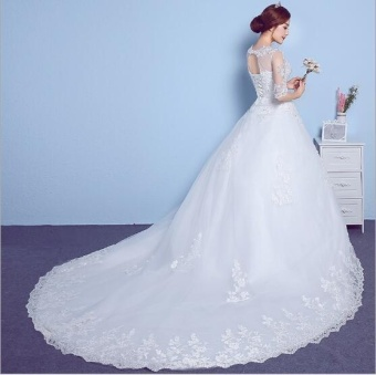 QQ Wedding dress wedding band thin slim White - intl - 2