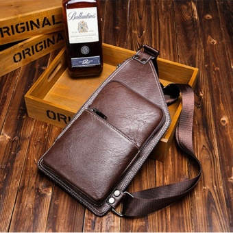 Quality Leather Chest Pack for Cool Men Fashion Crossbody Bag SlingBag Leisure Casual Business Cycling Daypacks Weekend Hiking(Coffee)- intl