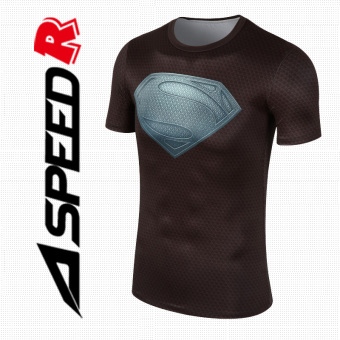 Quick-drying breathable Running Training Sports Top slim fit clothing (Black Superman) (Black Superman)