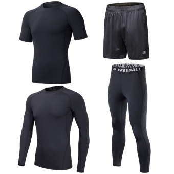 Quick-drying long short sleeved compression clothes coach service fitness clothes (All black short sleeved long-sleeved four sets) (All black short sleeved long-sleeved four sets)
