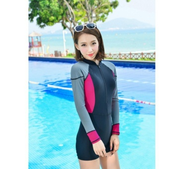 Rash Guards Women Rashguard Swimsuit For Surf Swimwear Windsurfing(Black) - intl