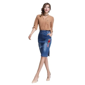 Ready Stock Women High Elastic Waist Embroidery Skiny A Line Mini Denim Skirts Plus Size S-4xL - intl - 2