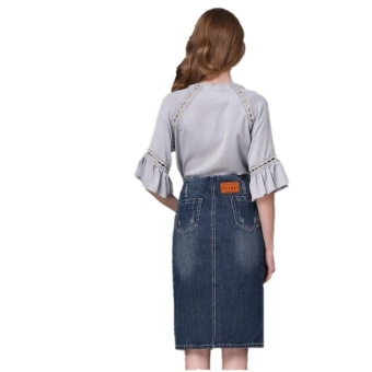 Ready Stock Women High Waist Embroidery Split A Line Knee Length Denim Skirts Plus Size S-4xL - intl - 5