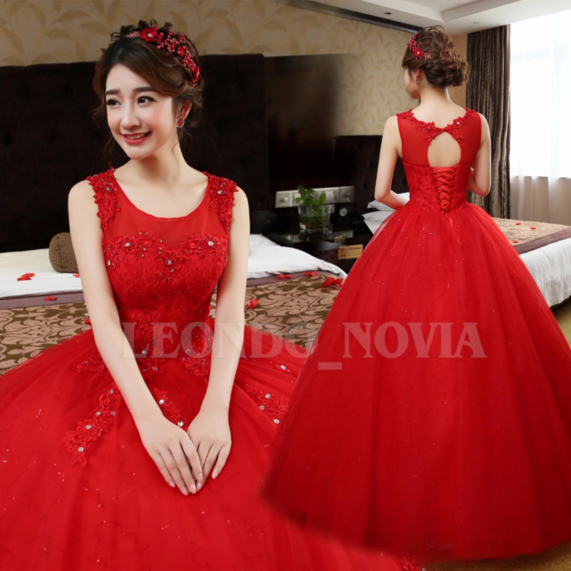 Philippines | Red Floor Length Wedding Dresses Handmade Applique ...