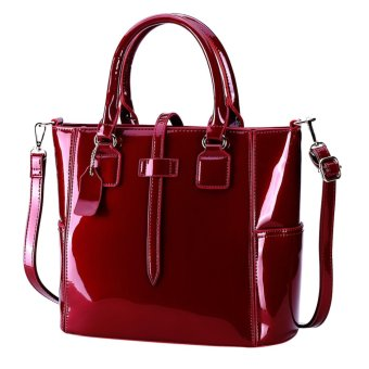 Red Jelly Leather Women Tote Handbags Large Capacity Shoulder Bag for Female - intl