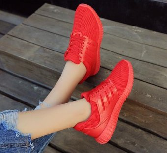 Red shoes 2017 spring breathable flat fashion sneakers for women -intl