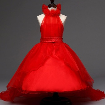 Red Tulle Princess Dress for Kids Girl Formal Party Clothes Fashion Halter Dresses Girls Pageant Stage Outfits - intl
