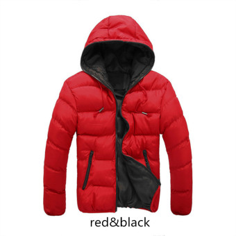 Red&Black Splice 2017 NEW Arrived Autumn Winter Duck DownJacket Hooded Winter Jacket for Men Fashion Mens Joint OuterwearCoat Plus Size - intl