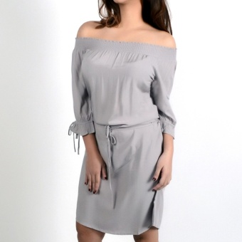 REDGIRL OFF SHOULDER DRESS RLT08-1374 (OPAL GRAY ) - 2