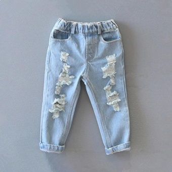 Retail 2017 Hot Sale Children Boys New Spring Distrressed JeansKids Summer Casual Ripped Denim Pants for Boys 4-9 Years - intl Price Philippines