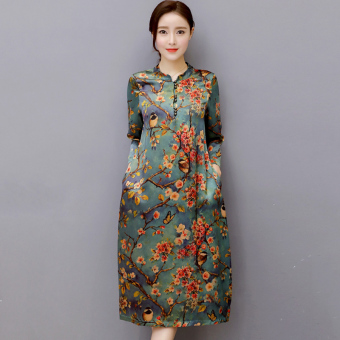 Retro collar Print spring and summer a word skirt dress