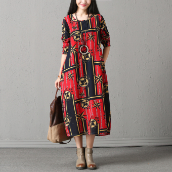 Retro cotton linen New style Plus-sized long-sleeved dress (Red Bottom dark blue block)