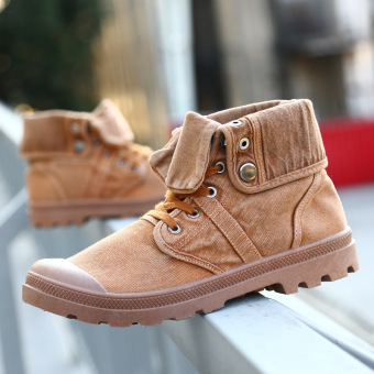 Retro cuffs high-top tooling boots men's shoes hight-top plain weave shoes (Camel)