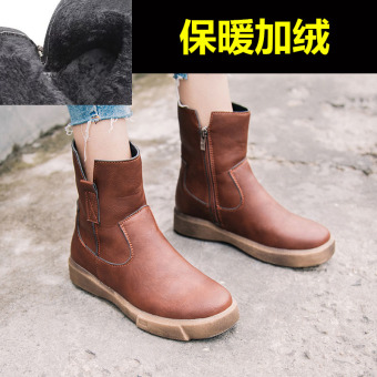 Retro female student thick bottomed Women's Singles boots Martin boots ([Side zip Plus velvet models] Brown)