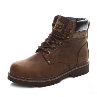Retro leather men's boots Martin boots (Deep Brown)