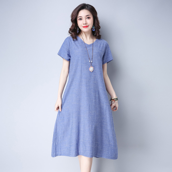 Retro Linen Loose and plus-sized dress New style skirt (Blue)