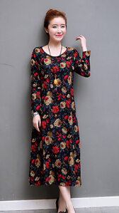 Retro Linen loose round neck long Qun Lian dress (Black)