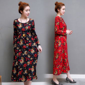 Retro Linen loose round neck long Qun Lian dress (Red)