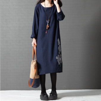 Retro Linen Print Slimming effect dress long dress