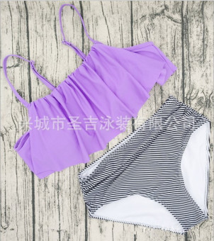 Retro New Style High waisted striped split swimsuit (17090-light purple)