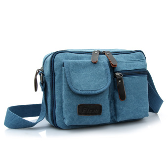 Retro New style men's canvas bag shoulder backpack (Blue)