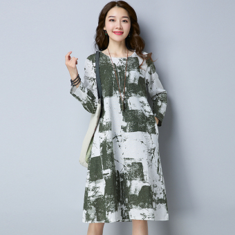 Retro New style Plus-sized loose Linen long dress (Green)