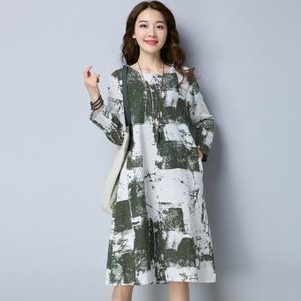 Retro New style Plus-sized loose Linen long dress (Green)