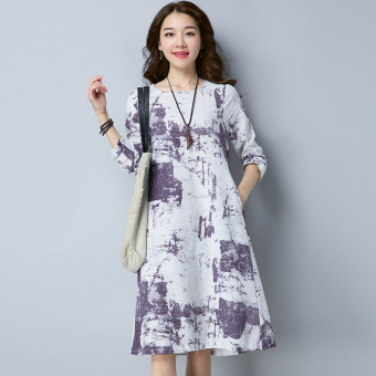 Retro New style Plus-sized loose Linen long dress (Purple)