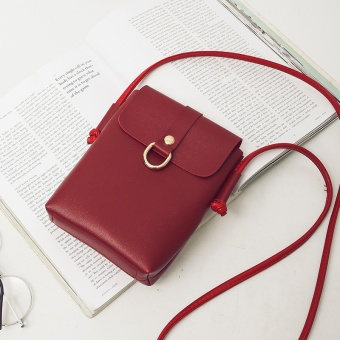 Retro versatile small square bag women's bag (Wine red color)