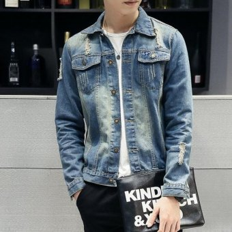 Retro washed denim jacket Slim jeans male tide men's jackets - Blue - Intl