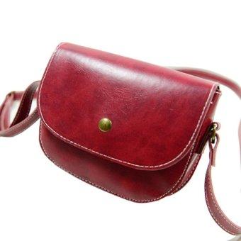 Retro Women Messenger Bags Chain Shoulder Bag Leather Crossbody Red