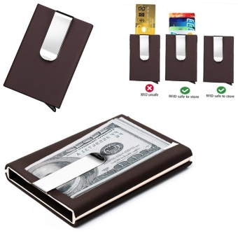 RFID Blocking Automatic Credit Card Holder Business Card Holder Quilted Card Holder Waterproof Credit Card Money Cash Clip Case Pocket Box Business ID Card Holder Cover - intl